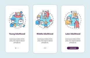 tela da página de integração de aplicativos para dispositivos móveis em fases adultas vetor