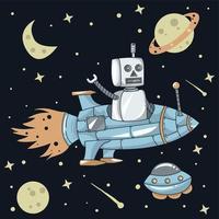 robô voando pelo espaço usando ilustração de foguete espacial vetor