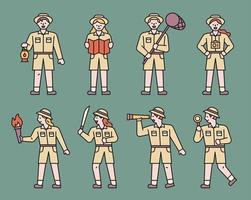 pessoas vestidas de exploradores. vetor