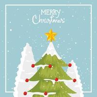 cartaz de feliz natal com pinheiro vetor