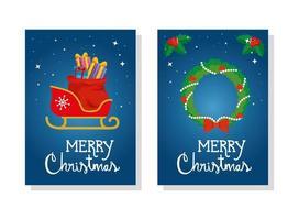 conjunto de pôster de feliz natal com decoração de trenó e coroa vetor