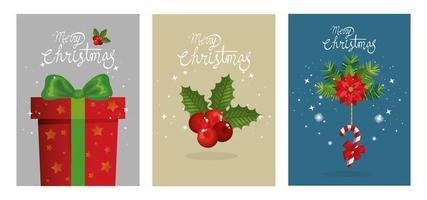 conjunto pôster de feliz natal e decoração vetor