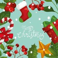 pôster de feliz natal com moldura de folhas e decoração vetor