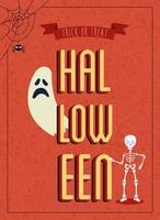 pôster de halloween com fantasma com esqueleto vetor