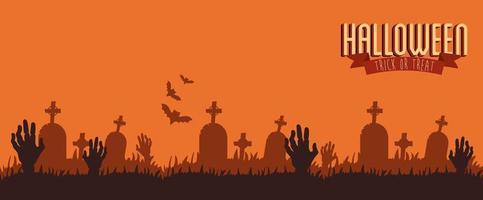 pôster de halloween com mãos zumbis no cemitério vetor