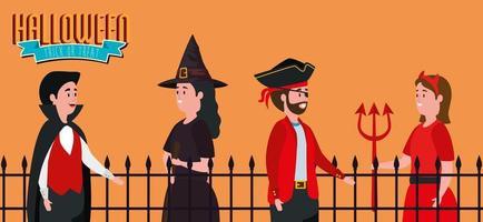 pôster de halloween com grupo de pessoas disfarçadas vetor
