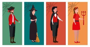 grupo de pessoas disfarçadas para o halloween vetor