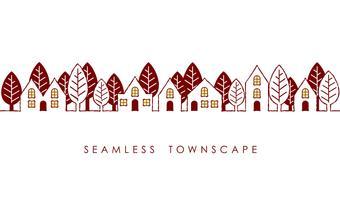 Townscape sem costura, ilustração vetorial. vetor