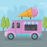 Ilustração plana de van de sorvete