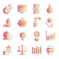 Conjunto de ícones de gradiente de investimento vetor