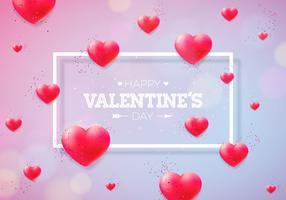 Feliz dia dos namorados Design com corações vermelhos vetor
