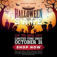 Ilustração de banner de venda de Halloween vetor