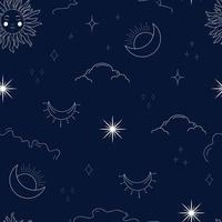 padrão celestial sem costura com sol e lua místicos vetor