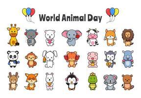 definir coleção de ilustração de desenho animado de celebração do dia mundial dos animais vetor