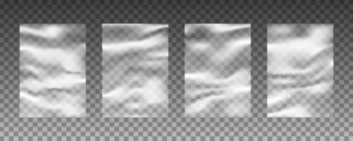 conjunto de texturas de fundo de urdidura de plástico transparente vetor