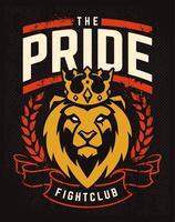 Design de emblema com leão na coroa vetor