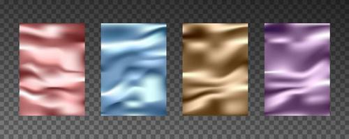 Texturas realistas 3D de folha de ouro, textura de seda, papel, filme plástico. vetor