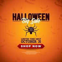 Ilustração em vetor venda Halloween com aranha