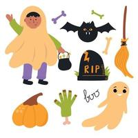 conjunto de elementos de halloween. ilustração plana bonita. projeto de viveiro. vetor