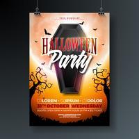 Ilustração de panfleto de festa de Halloween com caixão preto