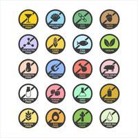 Conjunto de ícones de alérgeno. vetor