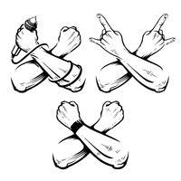Conjunto de vetores de rocha de mãos cruzadas