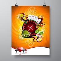Vector Party Flyer design em um tema de Casino