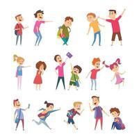 crianças em idade escolar enfrentam problemas sociais de pessoas estressadas e emoções assustadas vetor