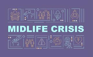 banner de conceitos de palavras para prevenção de crises de meia-idade vetor