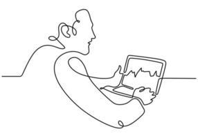 desenho de linha contínua de um homem sentado com um laptop vetor