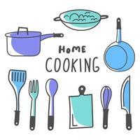 pacote de equipamentos de cozinha vetor