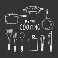 conjunto de vetores de utensílios de cozinha