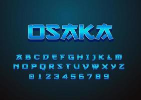 alfabeto e número da fonte retro futurista do estilo japonês vetor