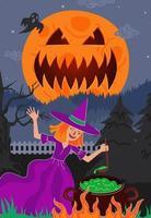 bruxa prepara magia venenosa no caldeirão na floresta à noite vetor