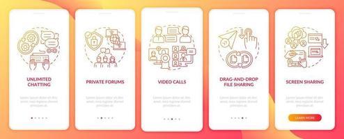 tela vermelha da página de integração do aplicativo móvel da opção de mensagens de negócios vetor