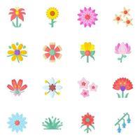 conjunto colorido de floral vetor