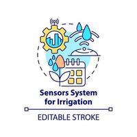 sistema de sensor para ícone do conceito de irrigação vetor
