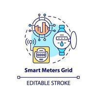 ícone do conceito de grade de medidores inteligentes vetor