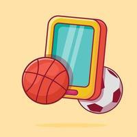 streaming de esporte em ilustração de símbolo de conceito de smartphone vetor