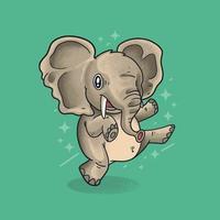 elefantinho dança ilustração vetorial estilo grunge vetor