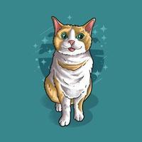 um gato fofo sentado ilustração vetorial estilo grunge vetor