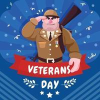 dia do veterano com um personagem de desenho animado fofo veterano vetor