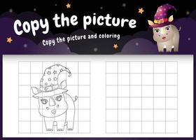 copie o jogo de crianças e a página para colorir com um lindo rinoceronte vetor