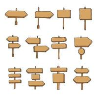 letreiros de madeira, conjunto de sinais de seta de madeira vetor