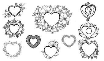 dia dos namorados corações doodles conjunto. coleção de adesivos românticos. vetor