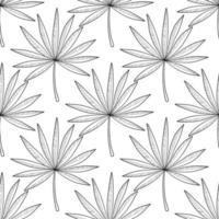 mão desenhada ramos e folhas de plantas tropicais. desenho monocromático vetor