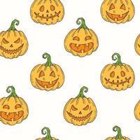padrão sem emenda com halloween abóbora jack colorido no estilo de desenho. vetor