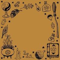 bruxaria, fundo mágico para bruxas. ferramentas mágicas desenhadas à mão vetor