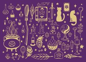 bruxaria, fundo mágico para bruxas e feiticeiros. desenhado à mão vetor