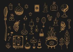 fundo mágico para bruxas e bruxos. ferramentas mágicas desenhadas à mão vetor